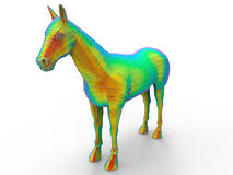 Rainbow digital horse concept. 3D render illustration of a horse. The horse is colored using multiple rainbow colors. The composition is isolated on a white Royalty Free Stock Photo