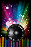 Rainbow Disco Background. With city and music equalizer Royalty Free Stock Photo
