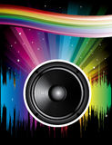 Rainbow Disco Background. With speaker and stars stock illustration