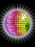 Rainbow disco ball. Vector background with rainbow disco ball for valentine's party stock illustration