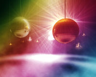 Rainbow Disco balls. Colorful 3d rendering of gold and silver glittering disco balls Royalty Free Stock Images