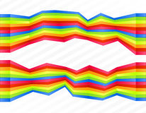 Rainbow disjointed wall stripes. Vector illustration of rainbow colored wall stripes flowing disjointed forming a central frame for custom text Royalty Free Stock Photo