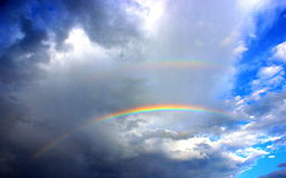Rainbow. Doble rainbow in sky Stock Image