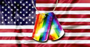 Rainbow dog tags. American flag background and army dogtags with rainbow flag of pride. Concept of  opening to the free expression of any sexual orientation Stock Image