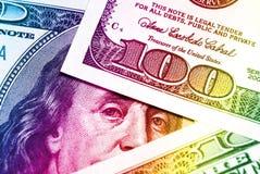 Rainbow dollar bills background Royalty Free Stock Photos