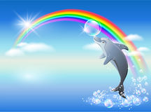 Rainbow and dolphin Royalty Free Stock Photography