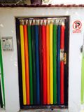 Rainbow on the door Stock Image