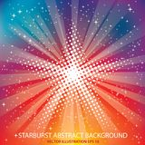 Rainbow dot starburst. Vector halftone dotted raster star  on starburst in rainbow colors Royalty Free Stock Photo