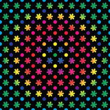 Rainbow Dots and Flowers Royalty Free Stock Image