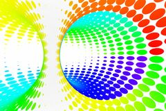 Rainbow dotted spiral tunnel. Striped twisted spotted optical illusion. Abstract white halftone background. 3D render. Spectrum iridescent wallpaper vector illustration