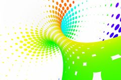 Rainbow dotted spiral tunnel. Striped twisted spotted optical illusion. Abstract white halftone background. 3D render. Spectrum iridescent wallpaper stock illustration