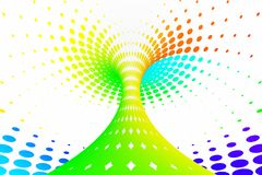 Rainbow dotted spiral tunnel. Striped twisted spotted optical illusion. Abstract white halftone background. 3D render. Spectrum iridescent wallpaper Royalty Free Illustration