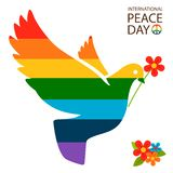 Rainbow dove with flower vector illustration