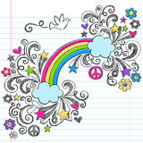Rainbow and Dove Peace Doodles Vector. Rainbow and Peace Dove Sketchy Back to School Notebook Doodles Hand-Drawn Vector Illustration Design Element on Lined stock illustration