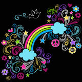 Rainbow and Dove Sketchy Doodles Vector Stock Images