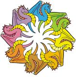 Rainbow of Dragons Stock Images