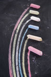 Rainbow drawn with chalk. Graphical display with colored chalk to represent the rainbow Royalty Free Stock Photography