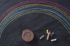 Rainbow drawn with chalk Stock Photos