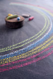 Rainbow drawn with chalk. Representation of a rainbow graphic design run with chalk on blackboard Royalty Free Stock Image