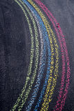 Rainbow drawn with chalk. Representation of a rainbow graphic design run with chalk on blackboard Stock Photography