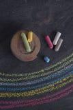 Rainbow drawn with chalk Stock Photo