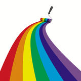 Rainbow drawn roller brush on the white Royalty Free Stock Photos