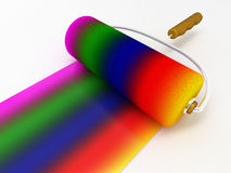 Rainbow drawn roller brush on the white Royalty Free Stock Photography