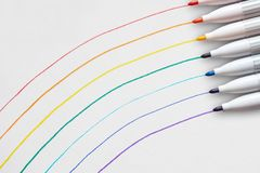 A rainbow drawn with a thin pen. There was a rainbow with a thin pen, and those pens on the right royalty free stock photo