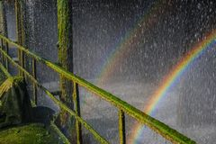 Rainbow in droplets of water in an old industrial plant for cool Stock Images