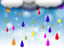 Rainbow Drops Background Means Colorful Dripping And Clouds Stock Photography