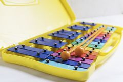 Rainbow dubble xylophone close up on a white backgpound. Beautiful rainbow dubble xylophone close up on a white backgpound, concept of musical development royalty free stock photography