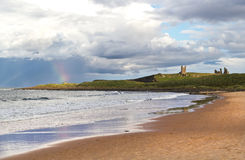 Rainbow at Dunstanburgh Castle Royalty Free Stock Image