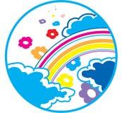 Rainbow e fiori fotografia stock libera da diritti