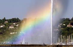 Rainbow e fontana Fotografia Stock Libera da Diritti