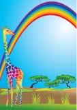 Rainbow e giraffa Immagine Stock Libera da Diritti
