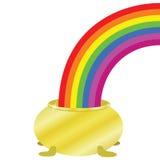 Rainbow e POT dorato Immagine Stock