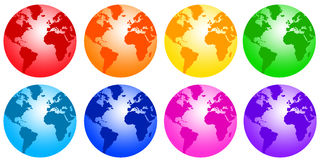 Rainbow earth. Planet earth in all colors of the rainbow (resolution is high enough for the globes to be used separately Stock Photos