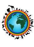 Rainbow earth. Illustration of earth with rainbow, animals and people silhouettes Royalty Free Stock Images