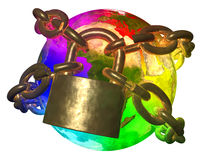 Rainbow Earth breaking golden chain Royalty Free Stock Photos