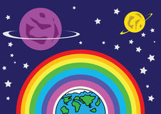 Rainbow Earth and Mars. In a world with bright rainbow crunchy Angkarat beauty with stars and constellations Royalty Free Stock Photos