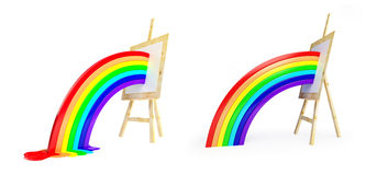 Rainbow from easel to floor on a white background Stock Image