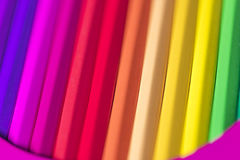 Rainbow effect of coloured pencils Stock Images