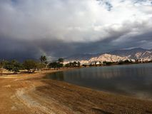 Rainbow in Eilat. After rain Stock Images