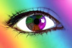 Rainbow eye. A beautiful rainbow on a woman eye Royalty Free Stock Images