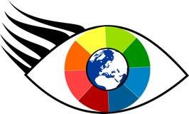 Rainbow eye with blue globe and europe Royalty Free Stock Image