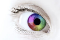 Rainbow eye closeup Stock Photos