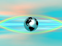 Rainbow Eye - Earth. 3D Classics - rainbow, model, background, ambient Royalty Free Stock Photography