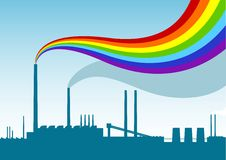 Rainbow factory. Blue sihouette of factory with rainbow Royalty Free Stock Image
