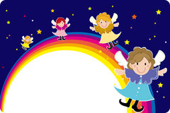 Rainbow Fairies fly frame. Vector illustration of Happy Rainbow faires Stock Image