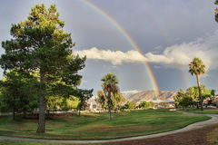 Rainbow on the Fairway. At Sun Lakes Country Club, Banning California stock photography